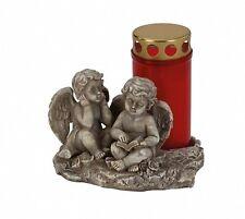 Engelspaar sitzend+ Kerze 10,5 cm Grabschmuck Grabdeko Grabstein Gedenkstein NEU