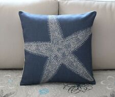 Navy Blue Star Starfish Cotton Linen Throw Pillow Cushion Cover Home Decor H2775