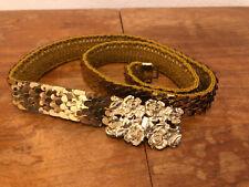 true Vintage Gürtel Gold Taillengürtel elastisch Metall Schuppen-Muster Blumen