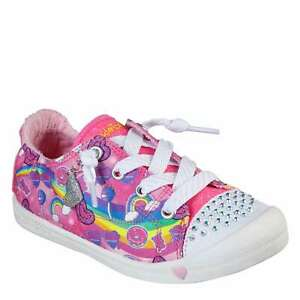 Skechers Kids Girls Twinkle Junior Trainers Runners Lace Up Print