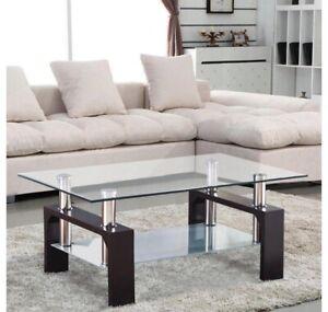 Ktaxon Rectangular Glass Coffee Table Shelf Wood Living Room Furniture Chrome Ba