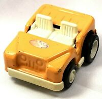 Vintage Toy Push Along Vehicle Tonka Small Metal Yellow Jeep with Rubber Tires