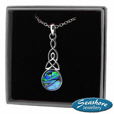 """Celtic Knot Necklace Round Abalone Shell Pendant Silver Fashion Jewellery 18"""""""
