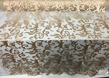 Gold Flaming Leaf Design-embroider On A Mesh Lace Fabric-nightgown-prom-bridal-