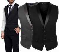 2020 Mens Vests Lapel Business Formal Dress Tops Waistcoat Casual Suit Slim Fit