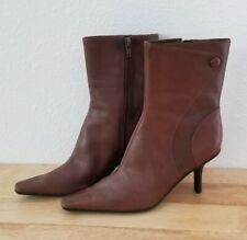 New* NINE WEST Brown Leather Side Zip High Ankle Fashion Boots Booties Size 7.5