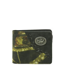 BLACK WESTERN VEGAN LEATHER CAMO SCORPION EMBLEM MENS BIFOLD ID WALLET WEST WOLF