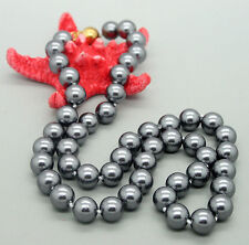 Charm Fashion 8 mm Gray shell pearl manual necklace 18 inches