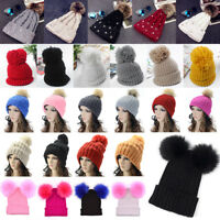 Women Pom Pom Bobble Beanie Ladies Winter Knitted Ski Hat Wooly Ski Crochet Cap