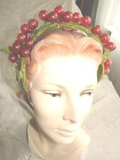 Vintage 30s Headband Hat RED GLASS BERRIES leaves Green Velvet Ornament Grapes