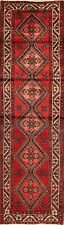 Excellent Vintage Geometric Hamedan Runner Rug Hand-Knotted Oriental Carpet 3x10