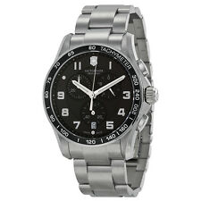 Victorinox Chrono Calssic XLS Black Dial Stainless Steel Mens Watch 241650