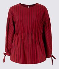 M&S LIMITED EDITION Striped Waist Gather 3/4 Sleeve Shell Top in Size 12 *BNWT*