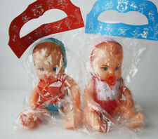 """2X RARE VINTAGE 70'S PLASTIC BABY DOLLS PACIFIER 9.5"""" GREEK GREECE NEW SEALED !"""