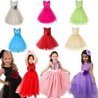XMAS Flower Baby Girls Dress Princess Wedding Party Bridesmaid Gown Formal Dress