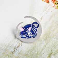 Cute Kids Gift Enamel Moon Blue Cat Pattern Badge Fashion Jewelry Pin Brooch