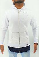 Mens Long Line Hip Hop Zip Up Frayed Hooded Sweatshirts Jacket Pullover Coat Top