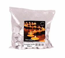 PACK OF 50 x LUXURY TEA LIGHTS CANDLES 4cm EVERYDAY WHITE 3.5 HOUR BURN