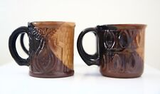 Vintage Pottery Craft U.S.A. P.C Mug SET 4 Fruit Textured Handmade Large Cups