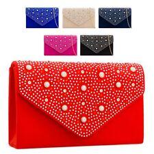 Ladies Fx Suede Envelope Clutch Bag Pearl Evening Bag Party Handbag Purse KD2293