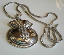 """Silver Finish Clear  CZ Money Bag With $ Sign Pendant w/ 36"""" Franco Chain"""