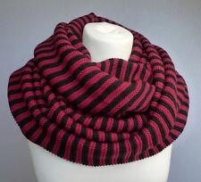 Grobstrick Loop mit Streifen Schlauchschal rot schwarz Damen Herren Schal 576
