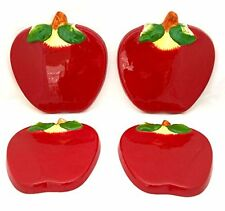 Tuscany 3D Red Apple Hand Painted Ceramic Kitchen 4pc Stove Cover Set 87455 by A
