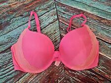 Victoria's Secret Neon Pink Lace Padded Push up Multi way Convertible Bra 36D