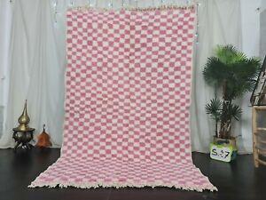 Moroccan Handmade Beni Ourain Wool Rug 5'3x8'5ft Checkered Berber White Pink Rug