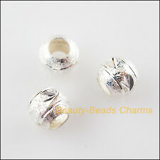 35Pcs Silver Plated Loose Round Ball Copper Flower Spacer Beads Charms 6mm