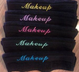 MAKEUP REMOVAL BLACK COTTON WASH CLOTHS SCRIPT  MAKEUP EMBROIDERY SET OF 5