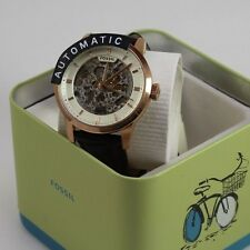 NEW AUTHENTIC FOSSIL TOWNSMAN AUTOMATIC ROSE GOLD SKELETON MEN'S ME3078 WATCH