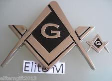 2 piece set of Masonic Master Mason Chrome Auto Emblem, & mini emblem :.