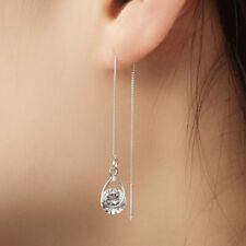 925 Silver Elegant Long Drop Earrings Women White Sapphire Jewelry A Pair
