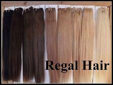 "20""HUMAN WEAVE/WEFT 100G #2 Dark Brown STRAIGHT HUMAN HAIR EXTENSION WEFT UK"