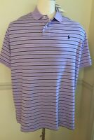 NWT POLO RALPH LAUREN Men's S/S Short Sleeve Shirt XXL Powder Purple Stripe 2XL