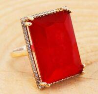 Turkish Ring 925 Sterling Silver Handmade Turkish Ruby Ladies Ring Size 6-12