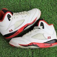 Nike Air Jordan 5 V Retro GS White 'Fire Red Black Tongue' 2013 440888-120 4Y