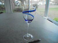 """Tall Blue Swirl Wine Glass 9 1/8"""" Tall"""