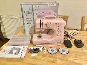 So Crafty Midi Sewing Machine Pink Lightweight For Beginners 12 Stitch Patterns