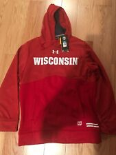 Under Armour NCAA University Of Wisconsin Badgers Hoodie Size S Red Rare 1323916