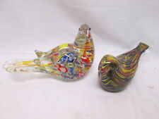 Collectible Pair of Murano Glass Italy Bird Paperweights Super Colorful