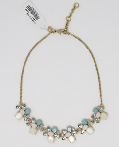 J.Crew Women's  NWT Ecru/Pink/Turquoise Epoxy/Crystal Cluster Statement Necklace