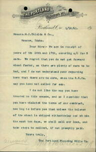 1891 Portland Oregon (OR) Letter The Portland Flouring Mills Co.