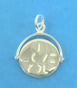 925 Sterling Silver I Love You Spinner Charm Pendant