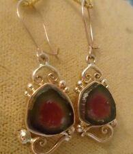 Watermelon Tourmaline Slices 14kSolid Rose Gold Kidney Wire  Earrings skaisMR17