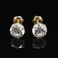 Round Brilliant Screwback Earrings 6mm 2Ct Created Diamond 14K Yellow Gold