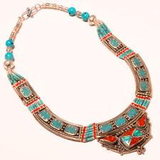 "Tibetan Turquoise Red Coral Gemstone Fashion Jewelry Nepali Necklace 18"" NN-216"