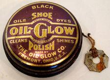 ANTIQUE Vintage OIL-GLOW SHOE POLISH Tin & opener Key TOKEN /  FREMONT OHIO