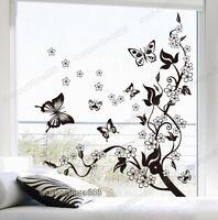 BUTTERFLIES VINE FLOWERS Wall Stickers Art Decal Wallpaper Home Decor Removable